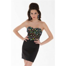 Strapless Short Black Satin Colorful Beaded Sheer Corset Cocktail Prom Dress