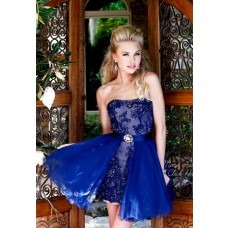 Strapless Short Mini Royal Blue Tulle Lace Beaded Cocktail Prom Dress Detchable Skirt