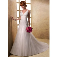 Stunning A Line Deep V Neck Sequined Beaded Tulle Wedding Dress With Train