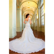 Stunning A Line One Shoulder Taffeta Organza Floral Wedding Dress With Long Train