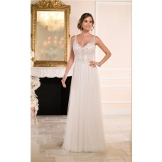Stunning A Line V Neck Open Back Tulle Beaded Wedding Dress Sheer Straps