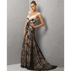 Stunning A Line V Neck Split Front Long White Black Lace Evening Wear Dress