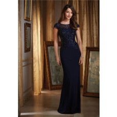Stunning Boat Neck Cap Sleeve Navy Blue Chiffon Beaded Special Occasion Evening Dress