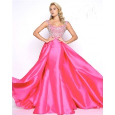 Stunning Cap Sleeve Strap Hot Pink Taffeta Beaded Prom Dress With Overskirt