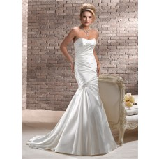 Stunning Fit And Flare Mermaid Strapless Ruched Satin Wedding Dress Corset Back