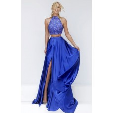 Stunning Halter High Slit Two Piece Long Royal Blue Satin Beaded Prom Dress