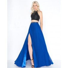 Stunning Jewel Neckline Black And Royal Blue Chiffon Two Piece Prom Dress With Slit