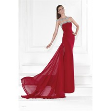Stunning Jewel Neckline Open Back Long Red Chiffon Flowing Prom Dress