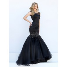 Stunning Mermaid Bateau Cap Sleeve Black Satin Organza Beaded Prom Dress