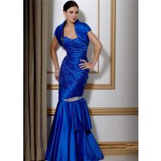 Stunning Mermaid Long Royal Blue Satin Beaded Evening Gown With Bolero Jacket