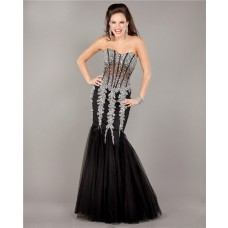 Stunning Mermaid Strapless See Through Black Tulle Beaded Prom Dress