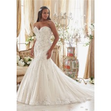 Stunning Mermaid Sweetheart Embroidery Beaded Plus Size Wedding Dress