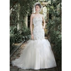 Stunning Mermaid Trumpet Strapless Tulle Satin Beaded Wedding Dress Detachable Straps