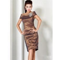 Stunning Off The Shoulder Short Brown Taffeta Tiered MOB Evening Dress