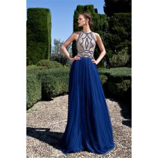 Stunning Sheer Illusion Back Long Royal Blue Tulle Beaded Prom Dress