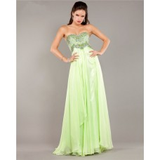 Stunning Strapless Empire Waist Long Light Green Chiffon Beaded Prom Dress