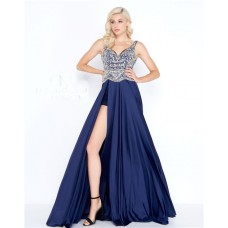 Stunning Sweetheart Open Back High Low Navy Charmeuse Beaded Prom Dress