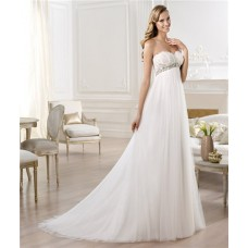 Sweetheart Empire Waist Feather Tulle Maternity Wedding Dress With Crystals