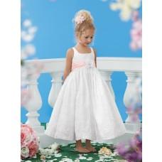 Tea Length White Lace Pink Sash Wedding Little Flower Girl Dress With Straps Flower
