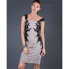 Tight Short/ Mini Grey Chiffon Black Lace Cocktail Evening Dress With Straps
