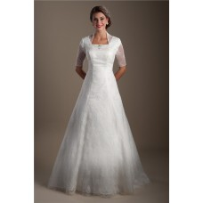 Traditional A Line Square Neck Short Sleeve Lace Modest Wedding Dress