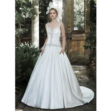 Traditional Ball Gown Scoop Neck Ruched Satin Wedding Dress With Straps