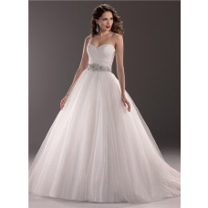 Traditional Ball Gown Sweetheart Tulle Wedding Dress With Beading Crystal Belt