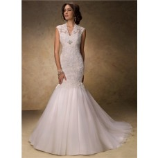 Traditional Mermaid Empire Waist Tulle Lace Modest Wedding Dress With Buttons