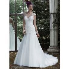 Trumpet Illusion Neckline Cap Sleeve Keyhole Open Back Tulle Lace Wedding Dress