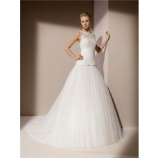 Trumpet Mermaid Boat Neck V Back Tulle Lace Applique Wedding Dress With Bow