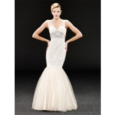 Trumpet Mermaid Champagne Tulle Lace Beaded Prom Dress With Sheer Straps