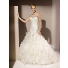 Trumpet Mermaid Illusion Boat Neckline Lace Beaded Organza Ruffle Wedding Dress With Straps