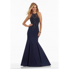 Trumpet Navy Taffeta Beaded Prom Dress Criss Cross Straps