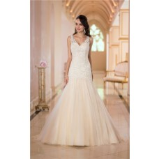 Trumpet Mermaid Scalloped Neck Champagne Colored Tulle Lace Wedding Dress