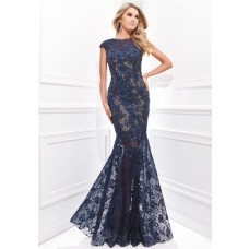 Trumpet Mermaid Sleeved Navy Blue Lace Beaded Prom Dress See Through Skirt