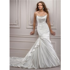 Trumpet/ Mermaid Spaghetti Strap V Back Ruched Satin Wedding Dress With Crystals