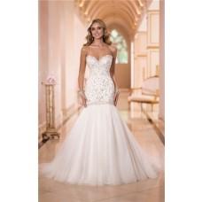 Trumpet Mermaid Sweetheart Embroidery Satin Tulle Wedding Dress Corset Back