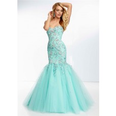 Trumpet Mermaid Sweetheart Long Aqua Tulle Lace Beaded Prom Dress Corset Back