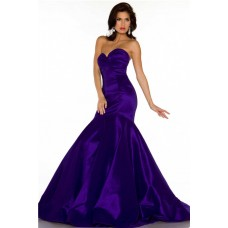 Trumpet Mermaid Sweetheart Long Regency Purple Satin Special Occasion Evening Dress