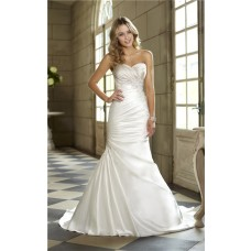 Trumpet Mermaid Sweetheart Ruched Satin Lace Beaded Corset Wedding Dress