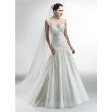 Trumpet Mermaid Sweetheart Tulle Applique Beaded Wedding Dress With Straps