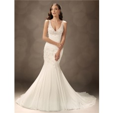 Trumpet/Mermaid V neck court train organza wedding dress with straps
