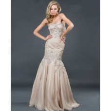 Trumpet/Mermaid strapless long champagne beading chiffon evening dress