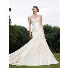 Trumpet/Mermaid sweetheart chapel train ivory wedding dress