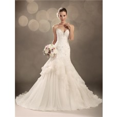 Trumpet/Mermaid sweetheart chapel train organza ruffles wedding dress