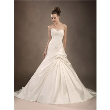 Trumpet/Mermaid sweetheart chapel train taffeta wedding dress