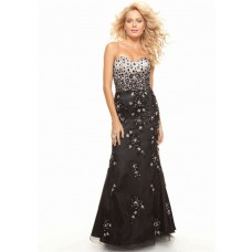 Trumpet/Mermaid sweetheart floor length black beaded prom dress formal gown