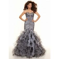 Trumpet/Mermaid sweetheart floor length black white organza prom dress with ruffles
