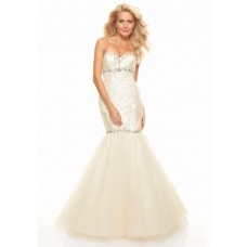 Trumpet/Mermaid sweetheart floor length champagne sequined prom dress with beading