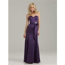 Trumpet/Mermaid sweetheart floor length long purple satin bridesmaid dress with sash